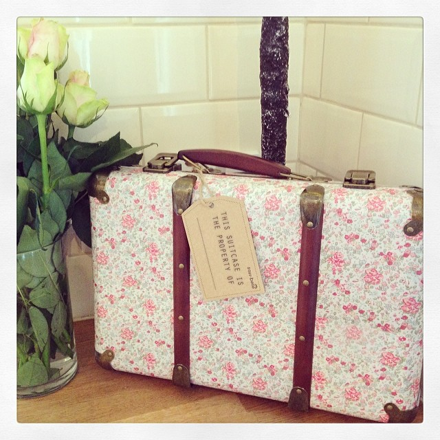 Floral Shabby Chic Suitcase- Pink Rose